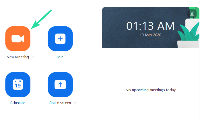 New Meeting in Zoom