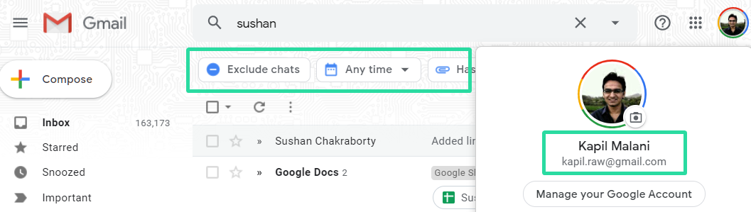Search Chips on free gmail account