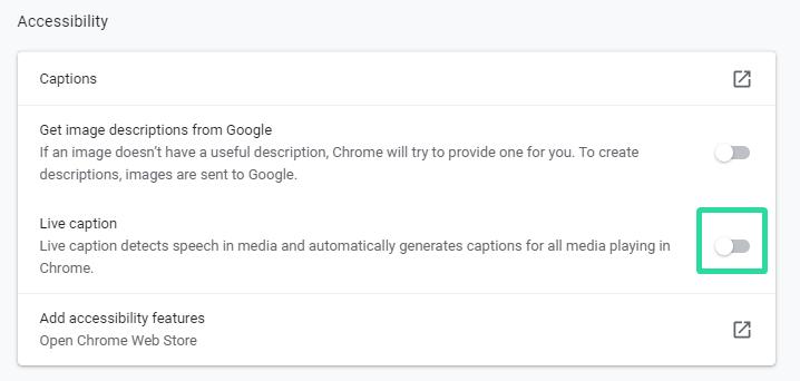 Turn off Live Captions on Chrome