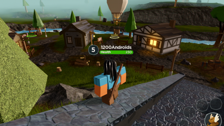 Screenshot of Adventure Up character atop stairs overlooking village.