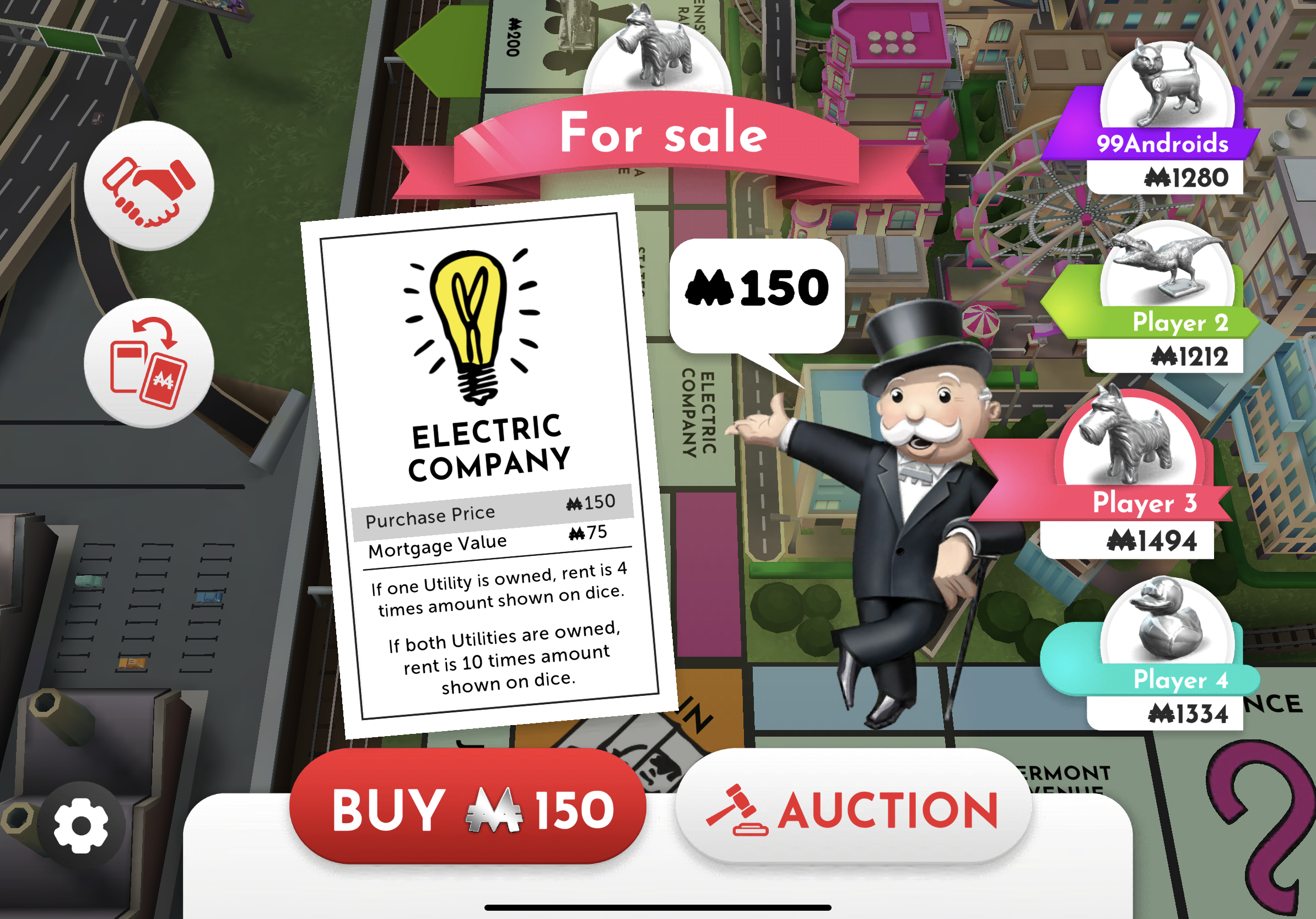 Monopoly prompt to buy/auction Electric Company