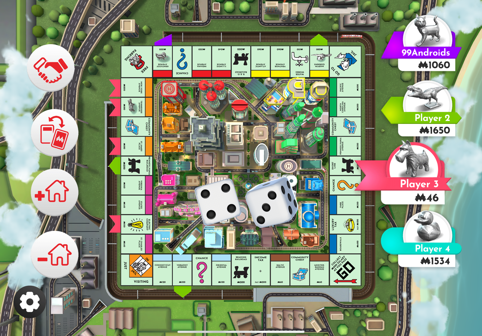 Monopoly digital game board with dice in middle