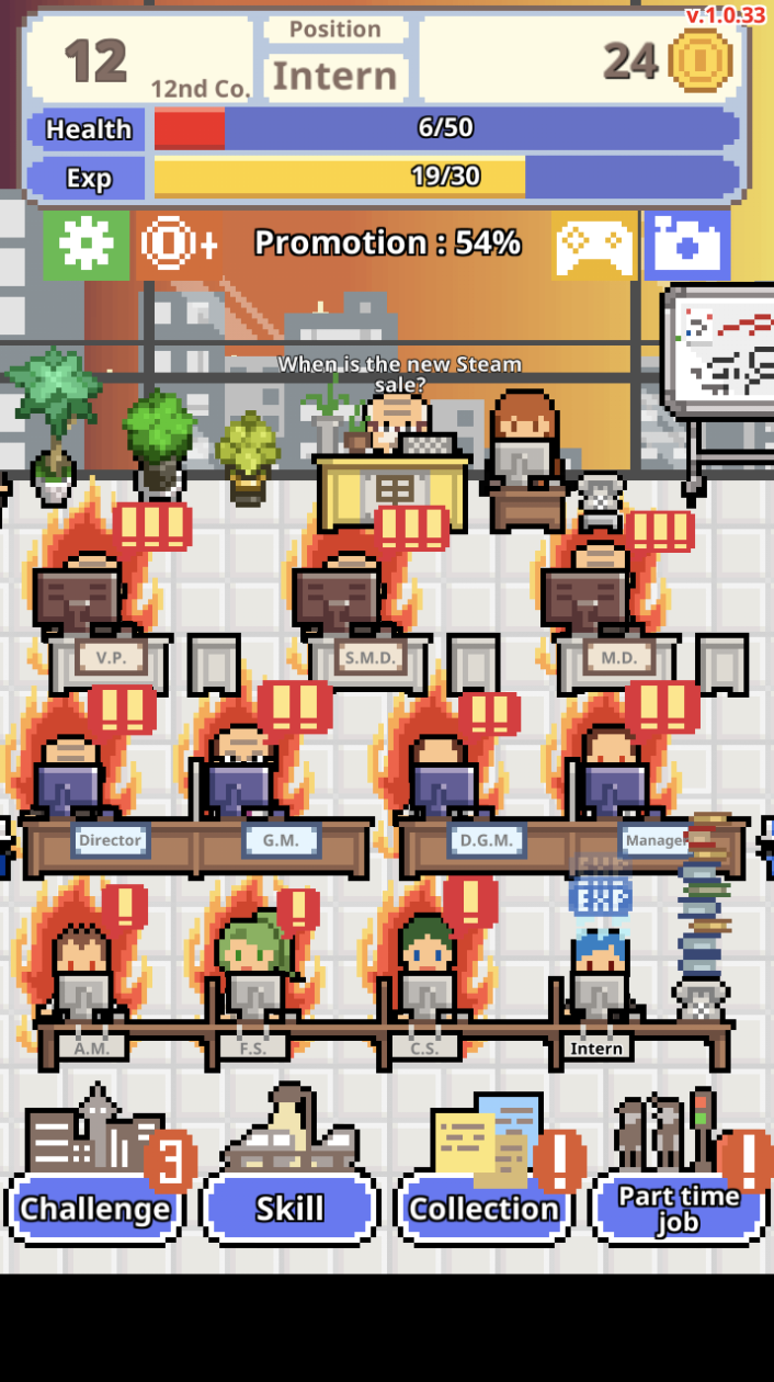 Don't Get Fired Screenshot showing burning workers