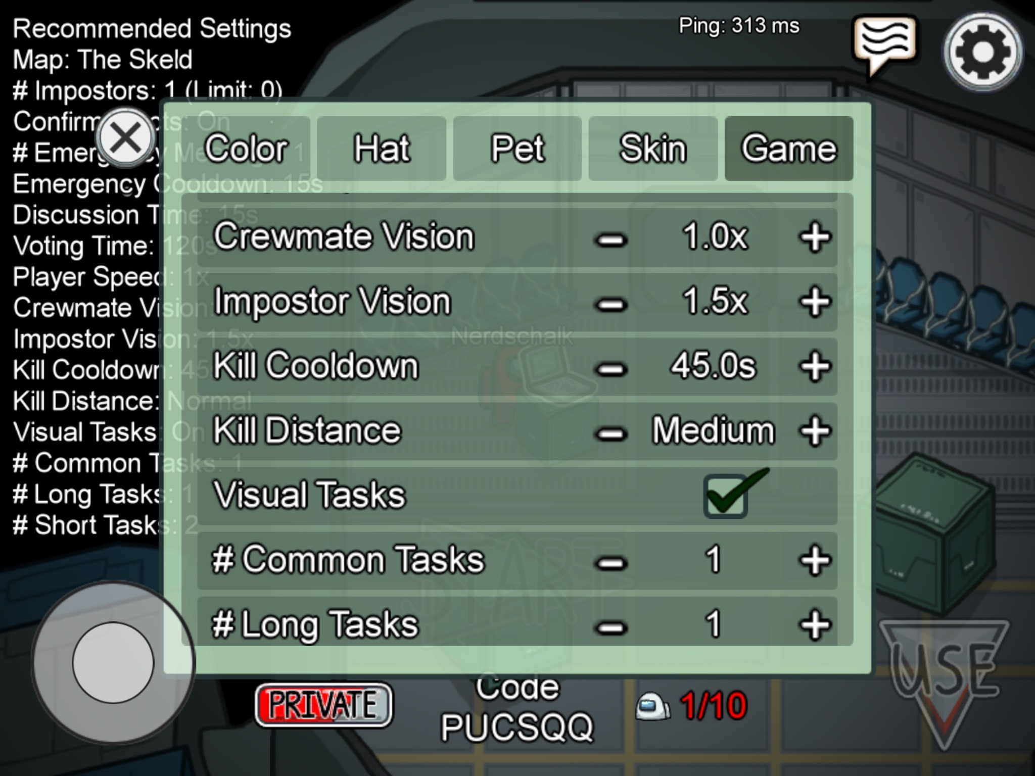 Among Us Settings Menu