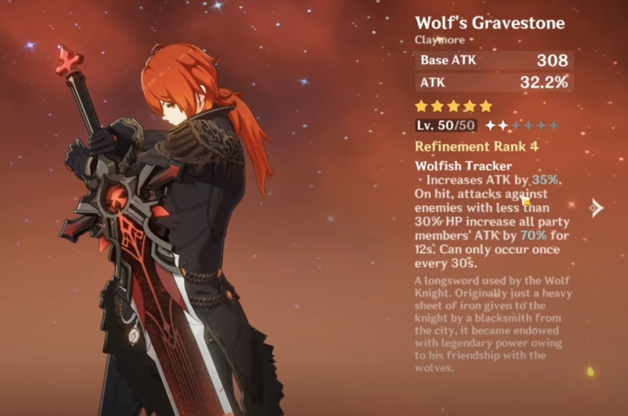 Genshin Impact Diluc Guide Best Weapon for Diluc Wolf's Gravestone