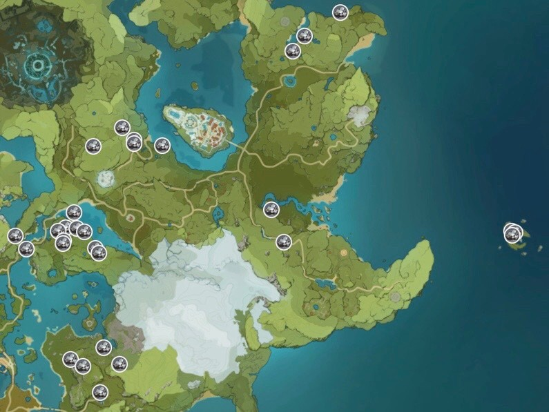Genshin Impact White Iron Chunk Ore Map Monstadt
