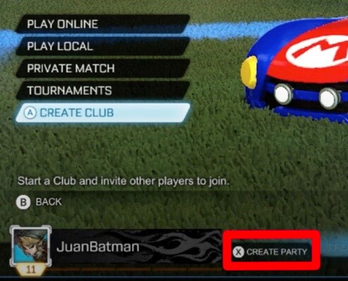 Rocket League Friends Create Party Switch