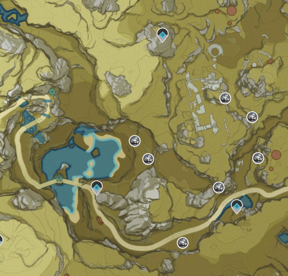 Genshin Impact White Iron Chunk Ore Map East of Jueyunjian Zoomed In
