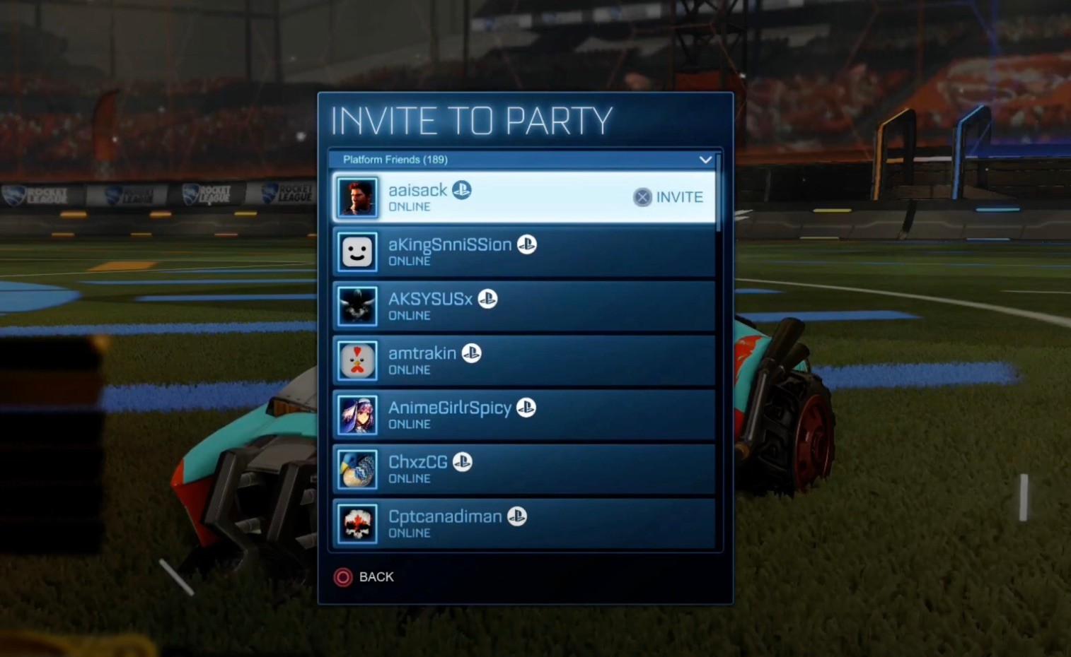 Rocket League Friends List invite PS4