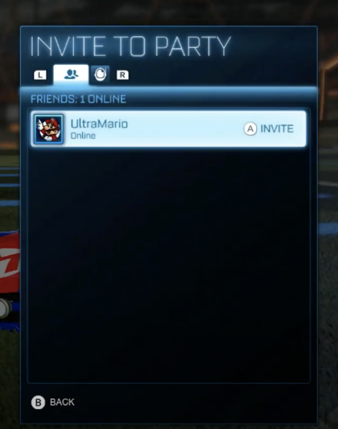 Rocket League Friends List Invite Switch
