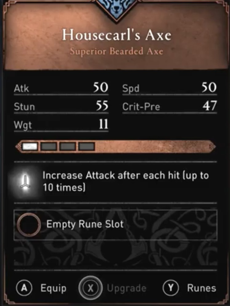 AC Valhalla Best Weapons - Housecarl's Axe Stats