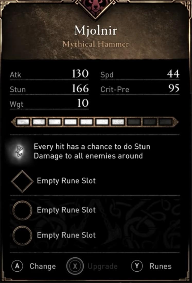 AC Valhalla Best Weapons - Mjolnir Stats