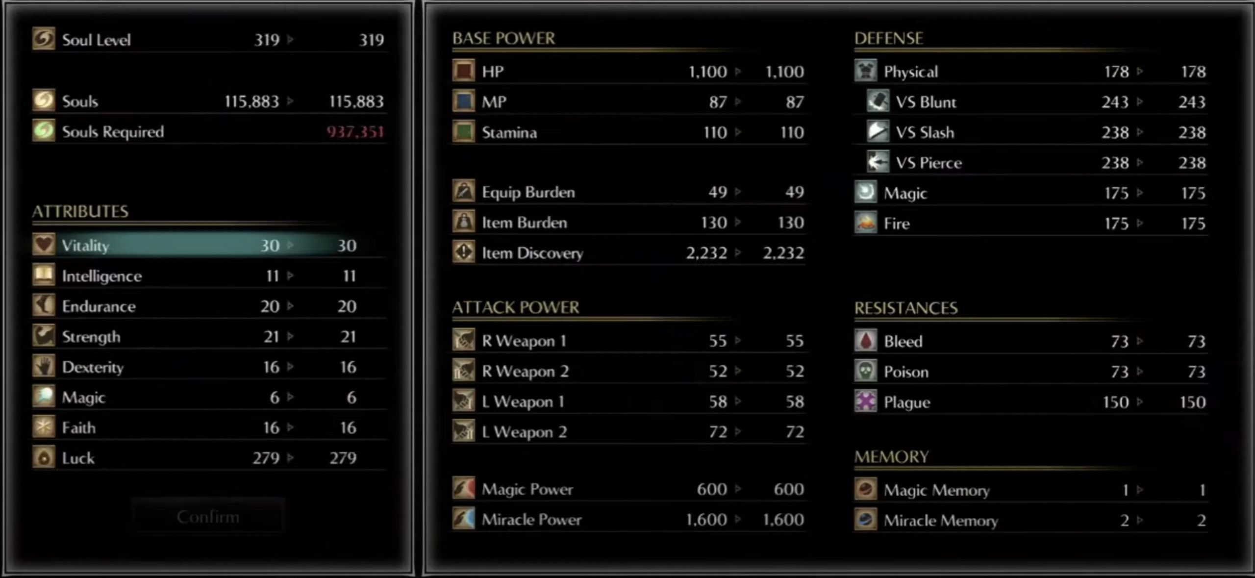 Leveling up in Demon Souls - Stat points