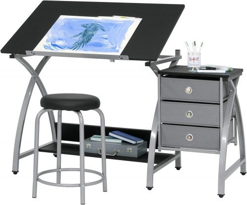 Best Drawing Table with Storage 2 Piece Comet Art Table