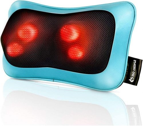 Teal neck massager with glowing massagers indicative of heat