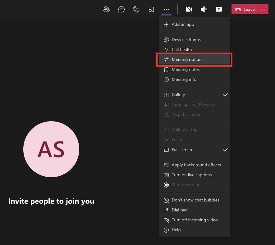 Meeting options in Microsoft Teams